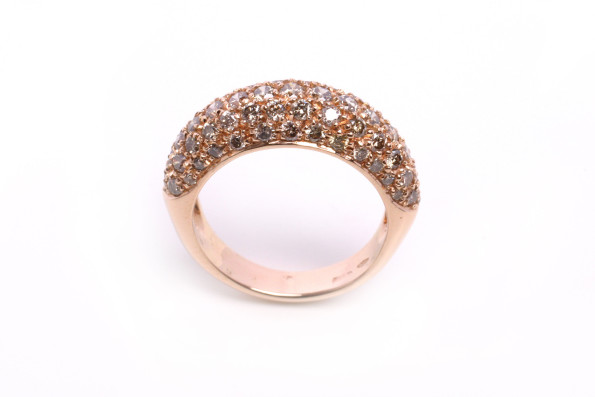pink gold ring with brown diamonds