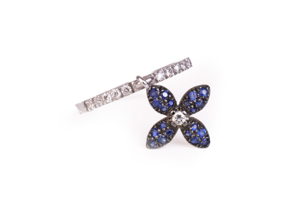 flower charm ring with sapphire
