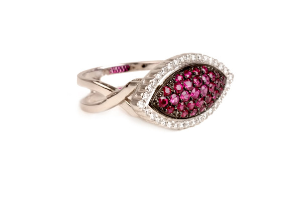 white gold ring with ruby