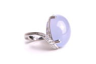 white gold ring with chalcedony