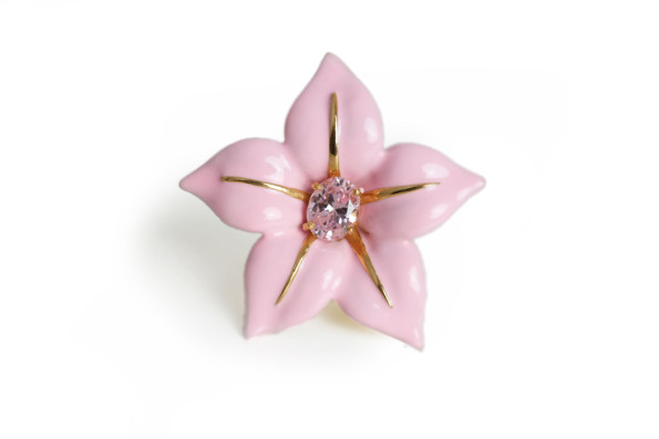 hand made silver ring pink enamel